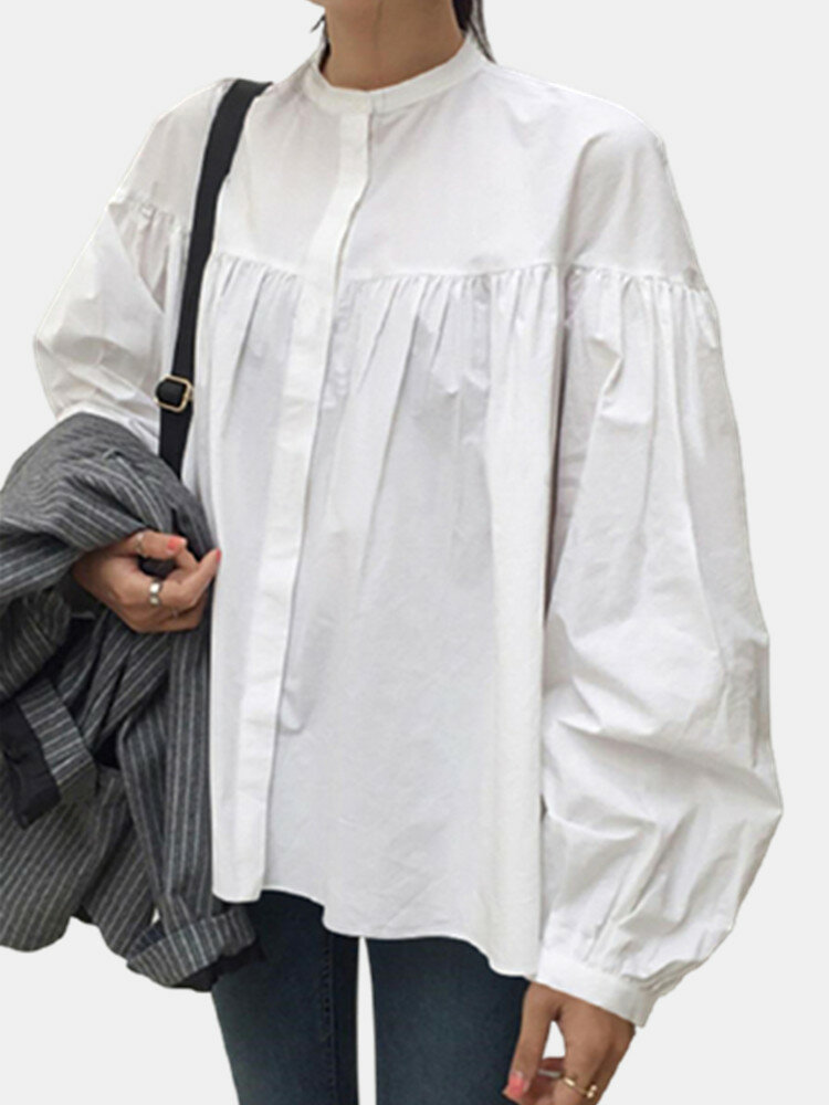 Casual Pleated Lantern Sleeve Stand Collar Plus Size Shirt