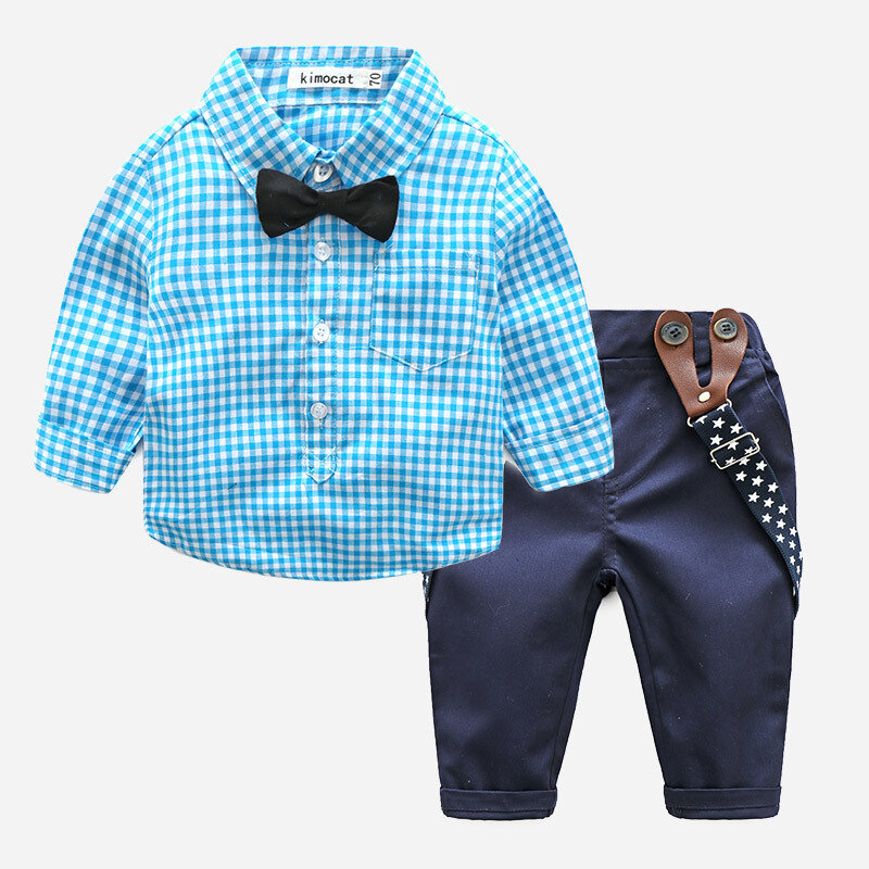 3PCs Baby Plaid Print Long Sleeves Formal Set For 6-24M