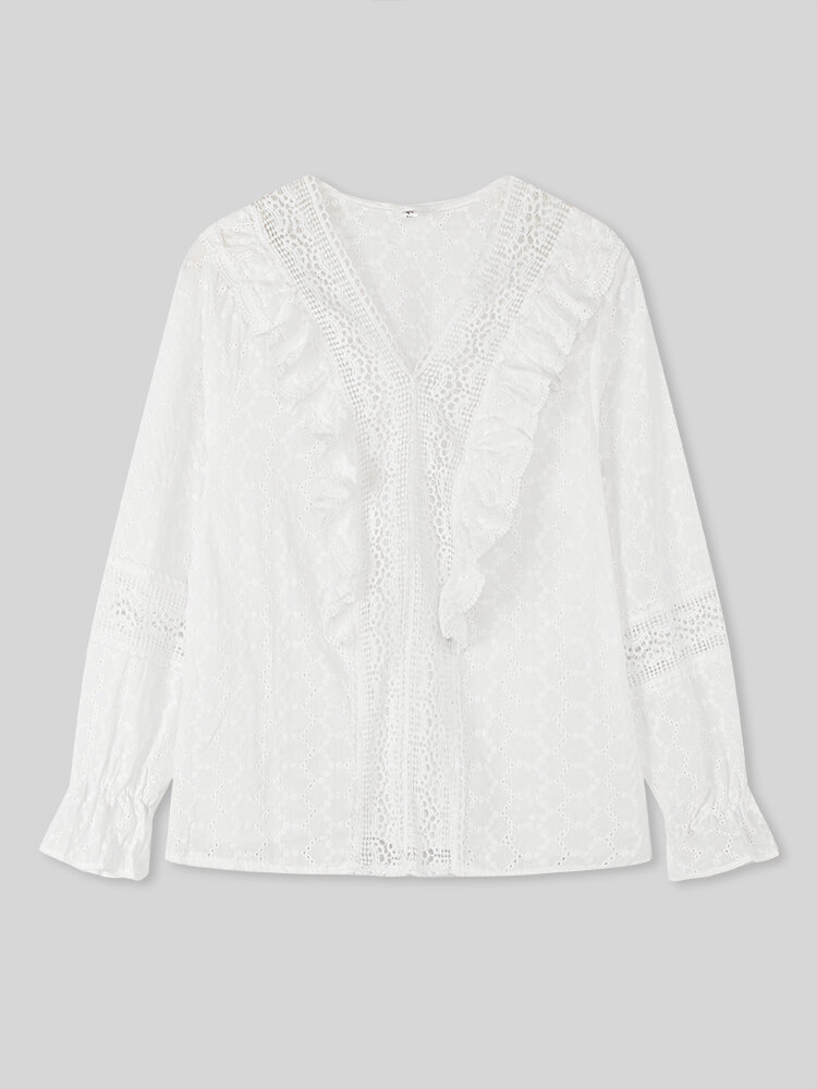 Women Solid Color Lace Patchwork Long Sleeve V-neck Casual Blouse