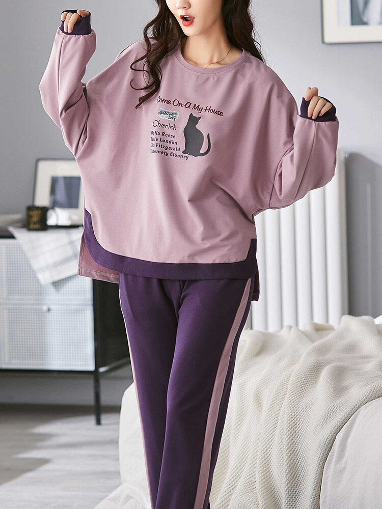 Women Cotton Patchwork Cat Text Printed Round Neck Home Loungewear Sets