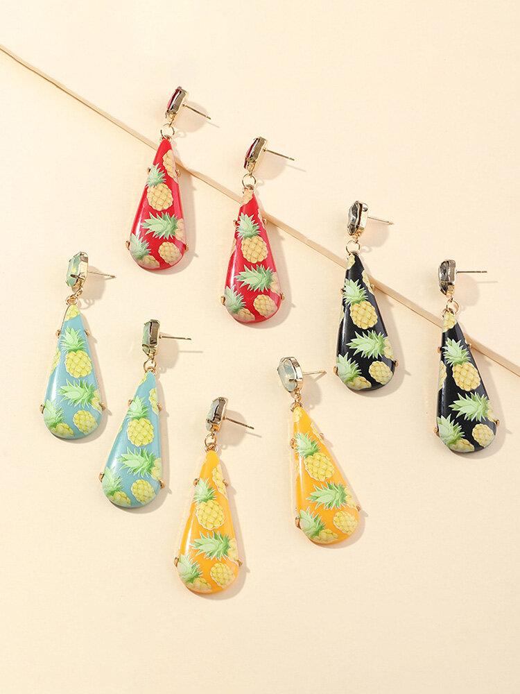 Fashion Resin Printed Metal Earrings Pineapple Geometric Drop Earrings