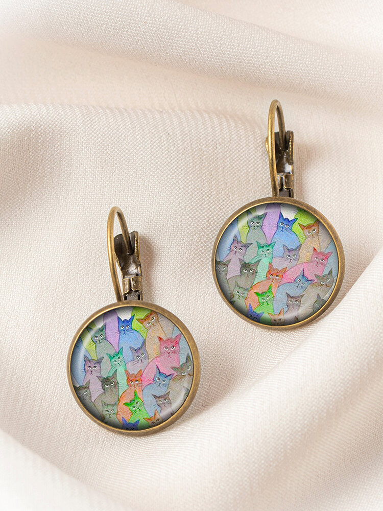 Bronze Glass Round Multicolor Cat Looking Sideways Print Pendant Women Earrings