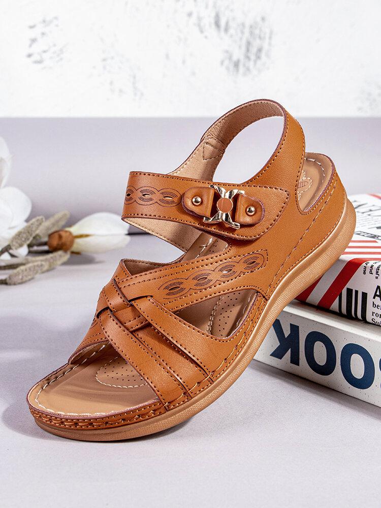 SIKETU Plus Size Women Comfy Retro Stitching Metal Hand Made Wedges Sandals