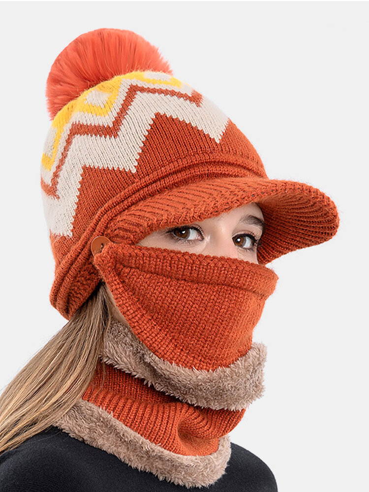 Women 3PCS Plus Velvet Thick Warm Winter Suits Neck Face Protection Knitted Hat Scarf Mask