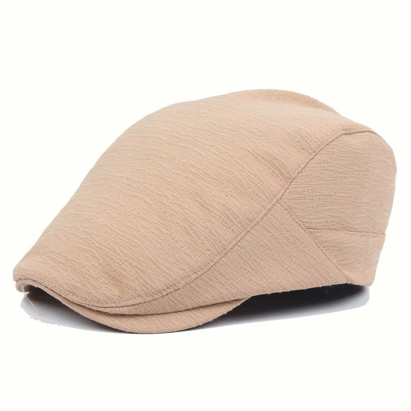 Mens Women Cotton Folded Designed Beret Hat Casual Visor Flat Forward Peaked Hat Wholesale
