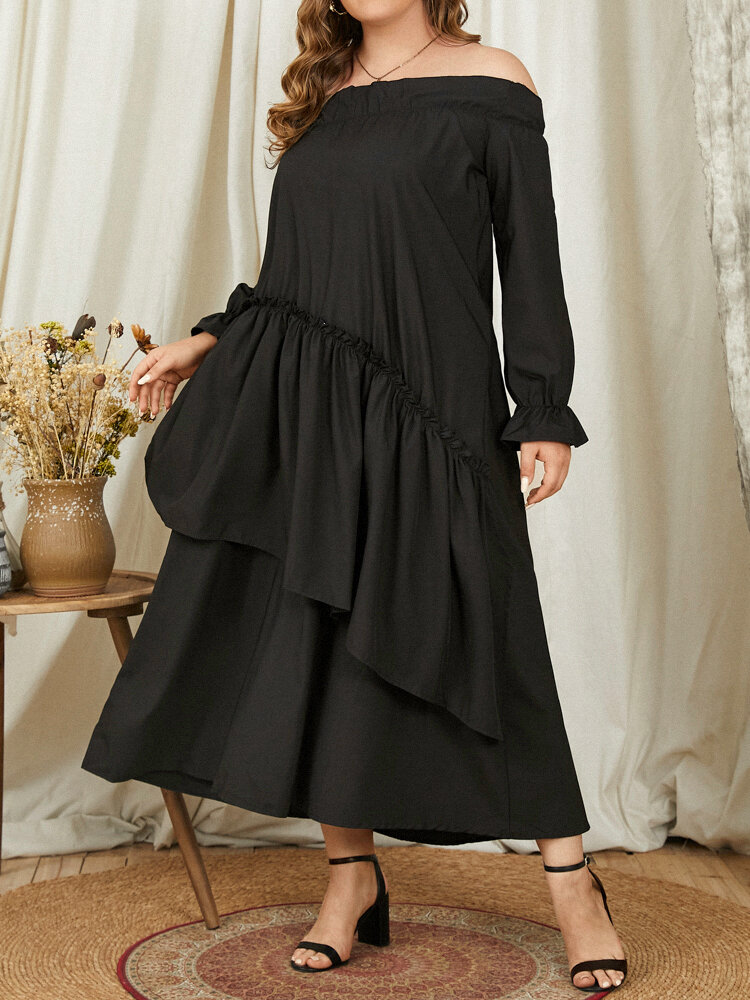 Plain Layered Off Shoulder Ruffle Sleeve Party Sexy Dress