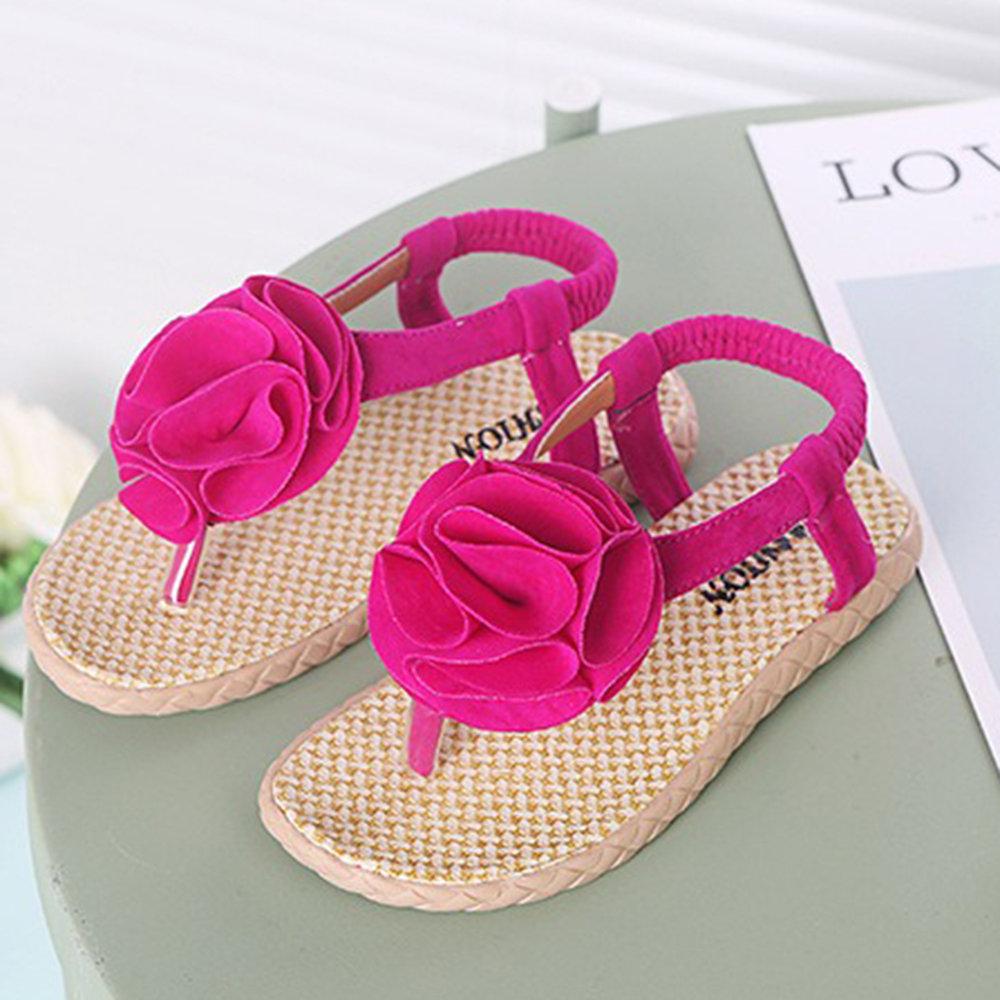 Girls Floral Decor Clip Toe Comfy Beach Sandals For Kids