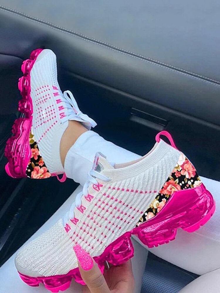 Plus Size Women Breathable Knitted Splicing Floral Printing Cushioned Running Sneakers