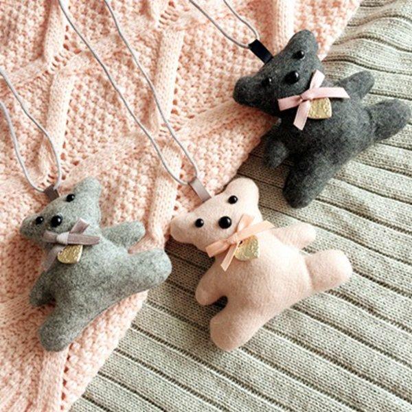 Lolita Cute Handmade Cotton Bear Pendant Necklace