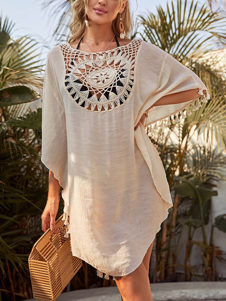 Women Hollow Out Graphics Tassel Trim Holiday Beach Sun Protection Cover Up