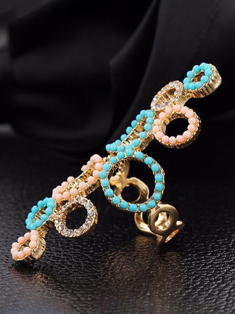 Simple Creative Circle Exaggerated Rhinestone Crystal Beads Ring
