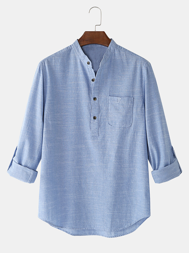 Mens 100% Cotton Solid Color Casual Long Sleeve Henley Shirts