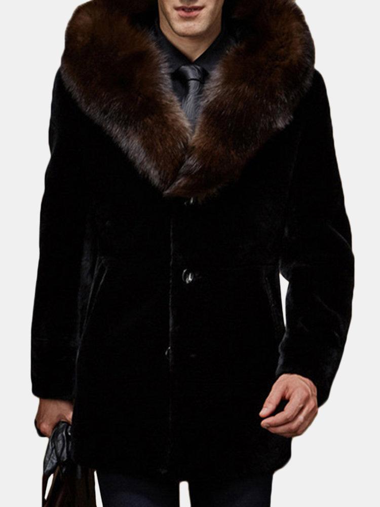 Cappotto casual da uomo in pelliccia sintetica con collo alto in pelliccia sintetica