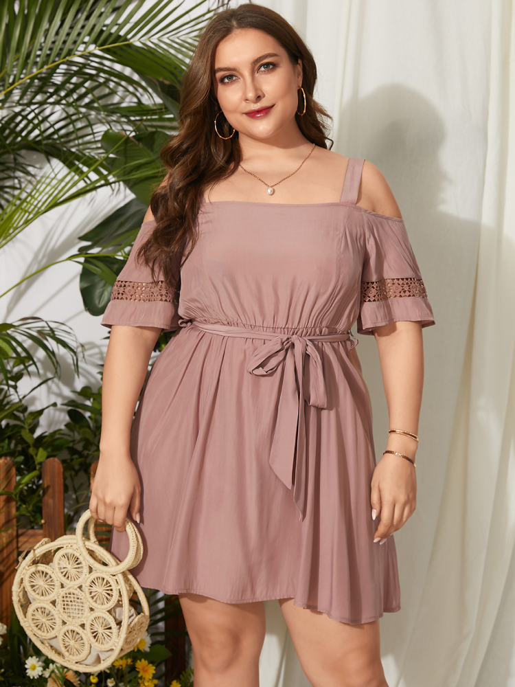 Casual Off Shoulder Belt Knotted Plus Size Dress for Women
