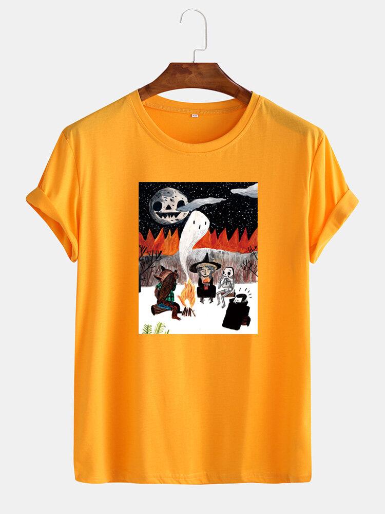 Mens Halloween Cartoon Ghost Graphic Print Cotton Casual Short Sleeve T-Shirts