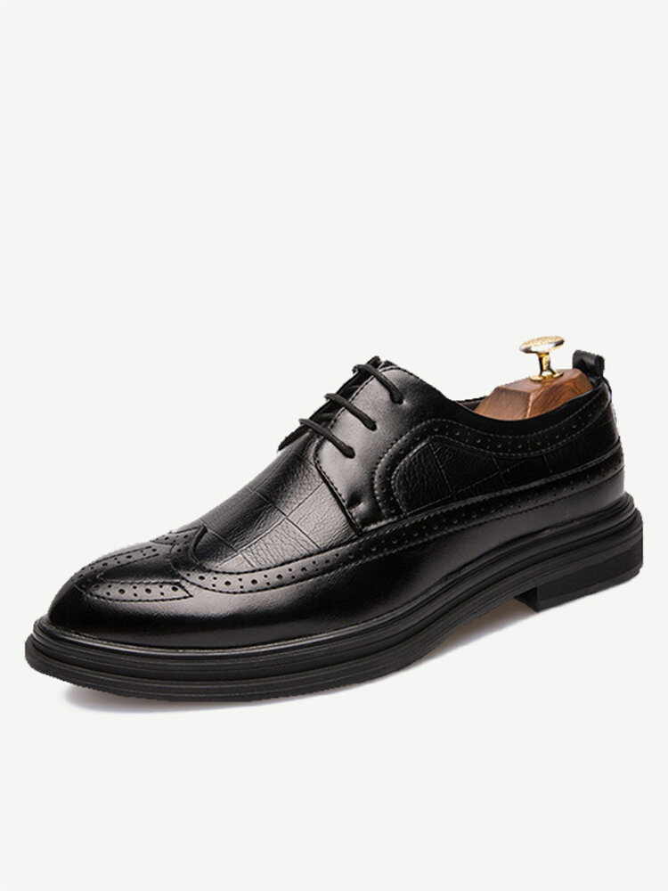 New England Leather Shoes Men's Black Work Trend Increased Solid Color Business Rubber Men's Shoes