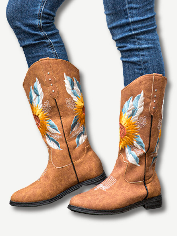 Large Size Women Sunflower Embroidered Soft Comfy Block Heel Cowboy Boots