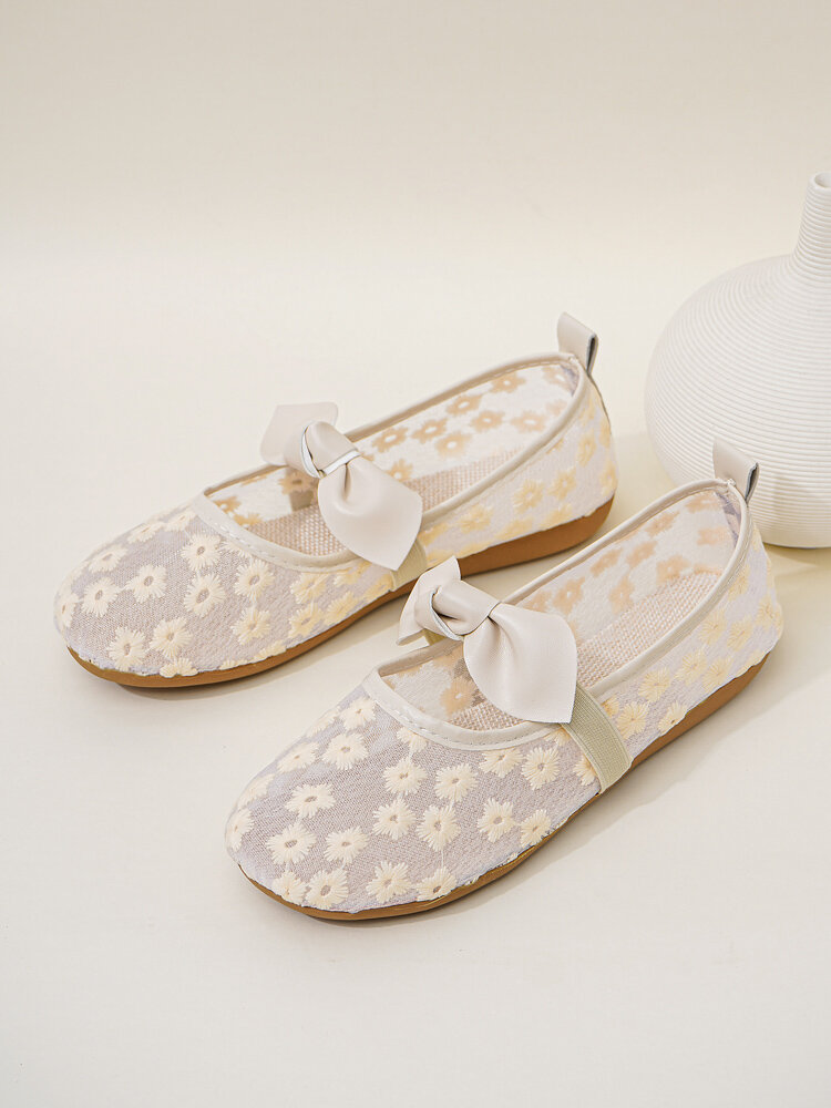 Women Casual Comfortable Floral Lace Shoes Round Toe Bow Flats
