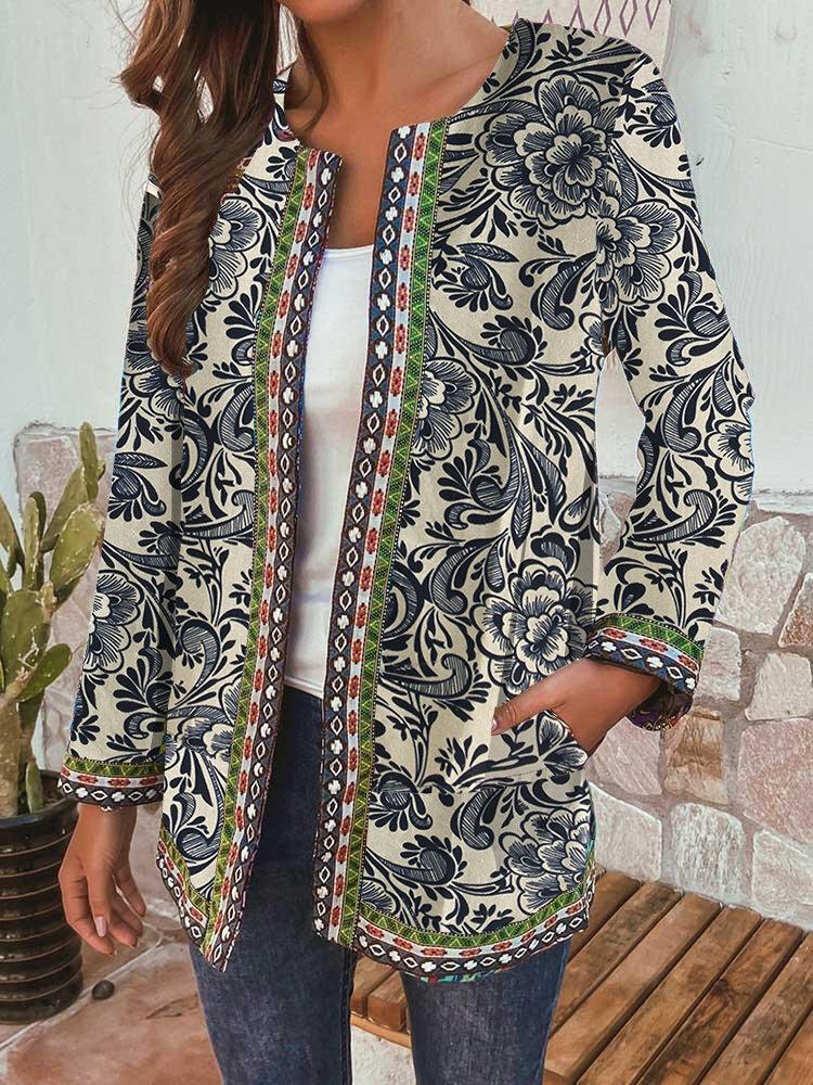 Ethnic Floral Print Patchwork Long Sleeve Vintage Jacket For Women