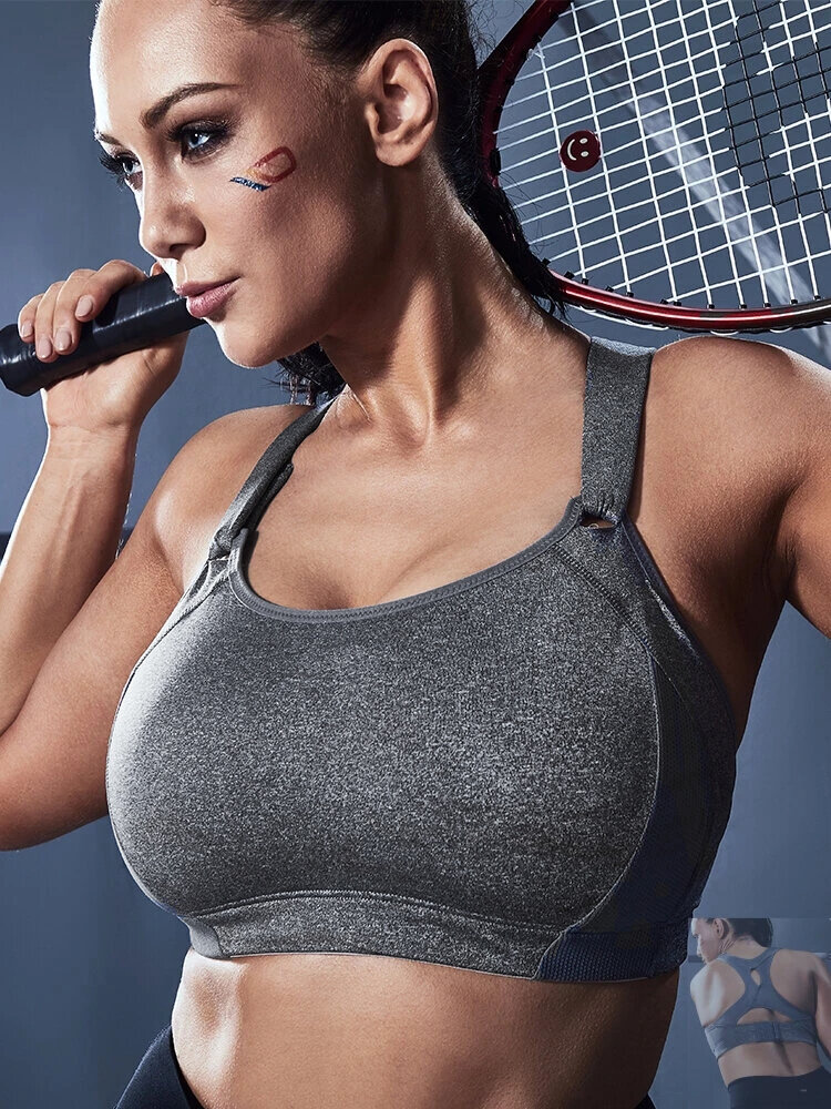 Women Plus Size Sports Bra High Impact Support Yoga Activewear With Adjustable Fastener