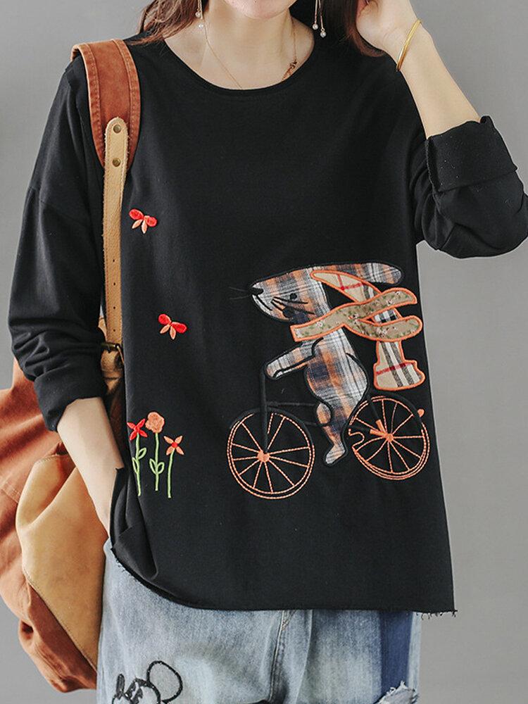 Cartoon Embroidery O-neck Long Sleeve T-shirt