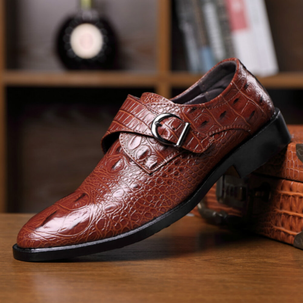Men Leather Crocodile Pattern Ratro Formal Business Shoes