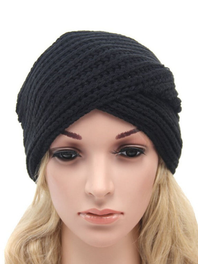 Women's Winter Warm Knitted Turban Hats Funny Beanies Cross India Plate Head Caps