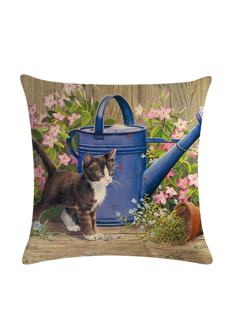 Cartoon Cat Pattern Cotton Linen Throw Pillow Cushion Cover Seat Car Home Sofa Bed Decorative Pillowcase