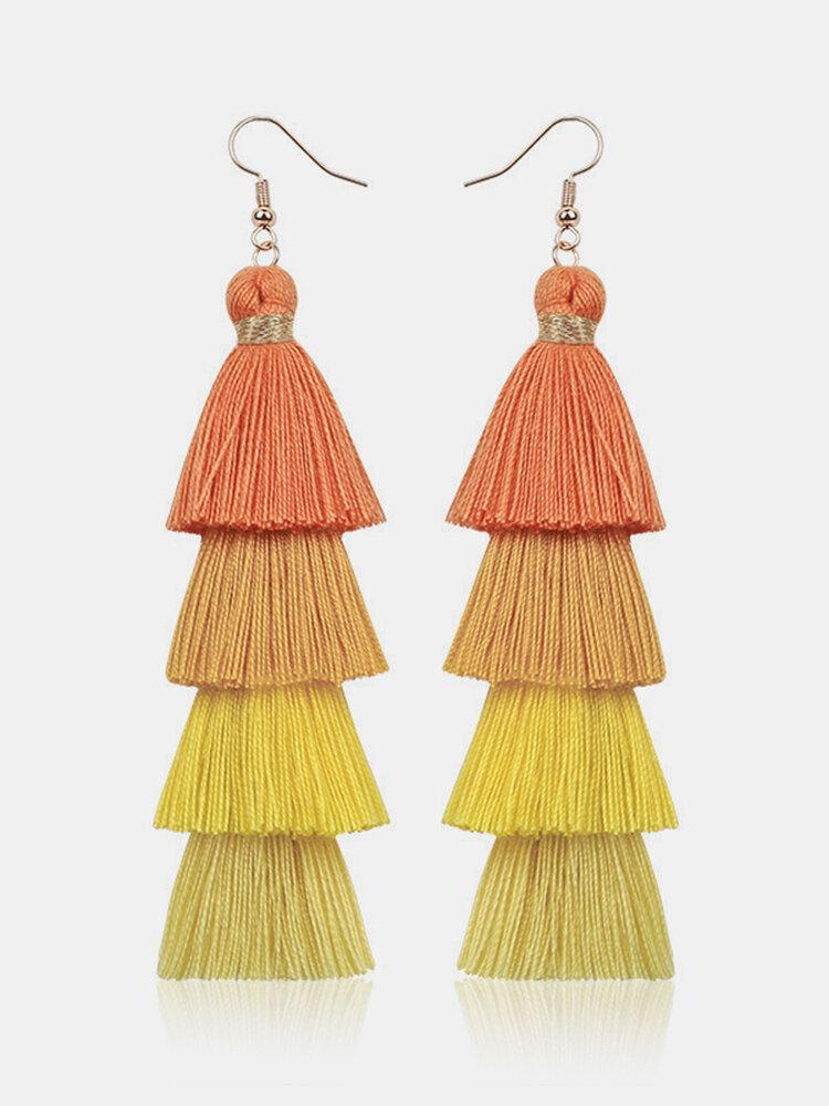 Bohemian Handmade Multi-layer Tassel Earrings Irregular Gradient Tassel Long Earrings