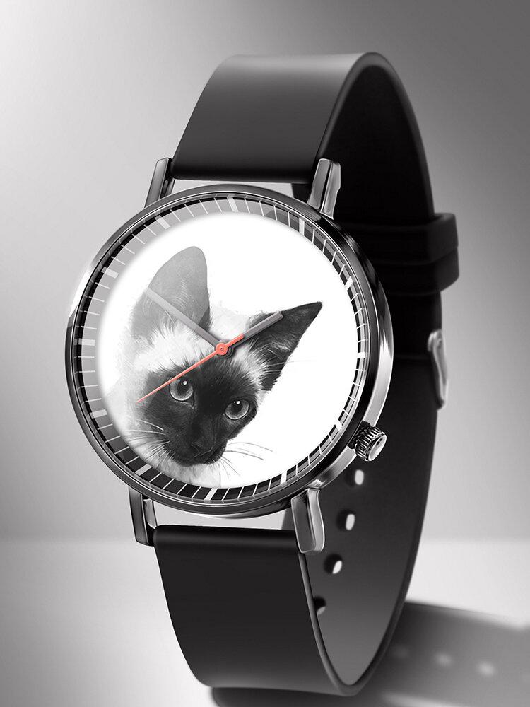 Animal Printed Men Business Watch Black-White Dogs Cats Pattern Women Quartz Watch