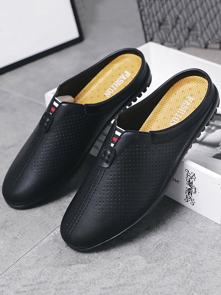 Men Cow Leather Hole Non Slip Backless Casual Slippers