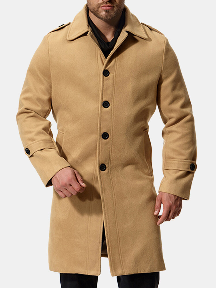Mens Thick Warm Wool Mid-long Single Breasted Casual Business Trench Coat