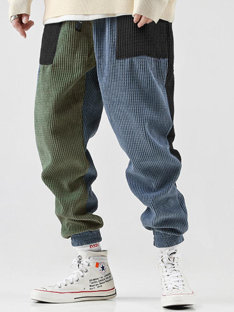 Mens Contrast Color Corduroy Casual Drawstring Jogger Pants
