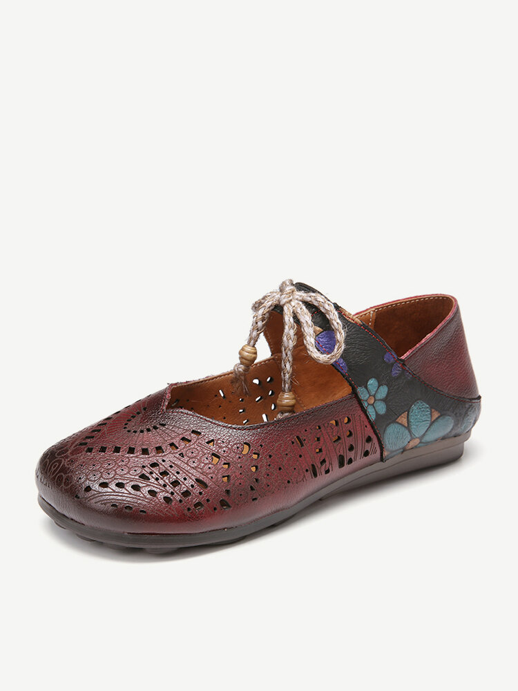 SOCOFY Retro Leather Burnished Cutouts Knot Elastic Strap Splicing Floral Flat Shoes