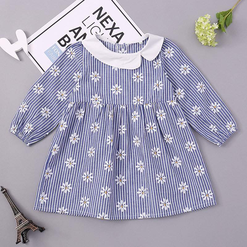 Daisy Flower Printed Comfy Cotton Girls Long Sleeve Dress For 0-24M