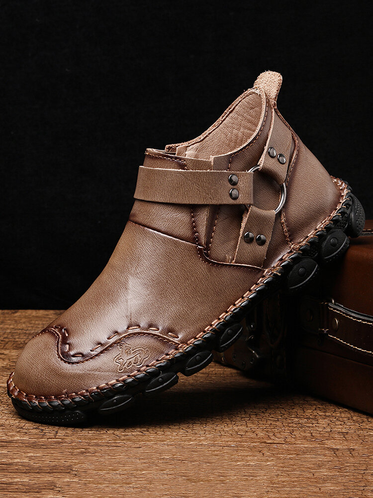 Menico Men Harness-Strap Hand Stitching Leather Comfy Soft Stylish Ankle Boots
