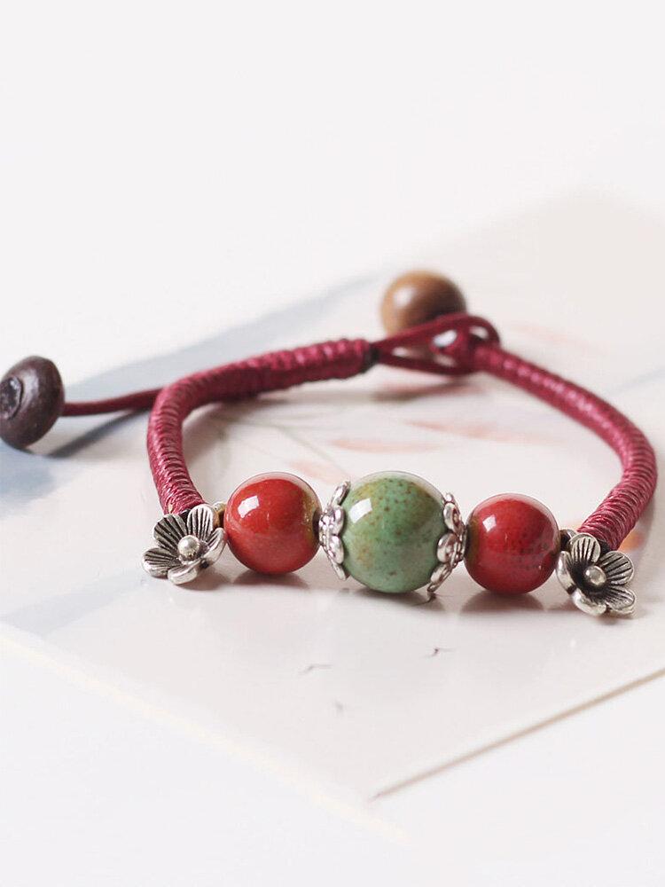 Vintage Ethnic Geometric-shape Beaded Braided Ceramics Alloy Elastic Rope Bracelets