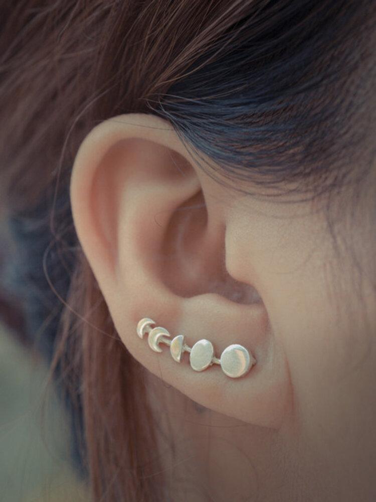ヴィンテージムーンペンダントイヤークリップメタル幾何学的な不規則な丸い耳スタッドシックなジュエリー