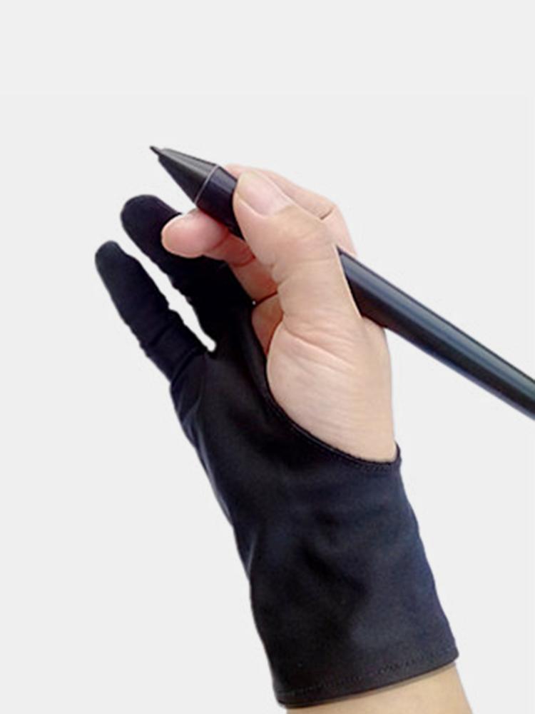 すべてのグラフィックスタブレット用の安全手袋アーティストグローブブラック2指防汚左右