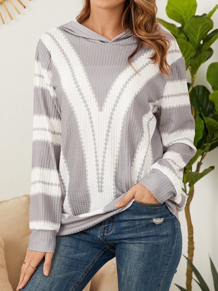 Striped Print Plus Size Cotton Hoodie Long Sleeve Hooded T-Shirt