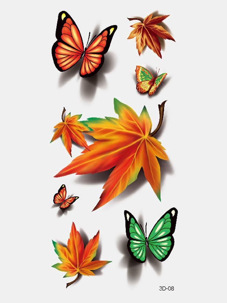 40 piezas 3D estéreo Impermeable tatuajes pegatinas escorpión flor transferencia de agua tatuaje pegatinas