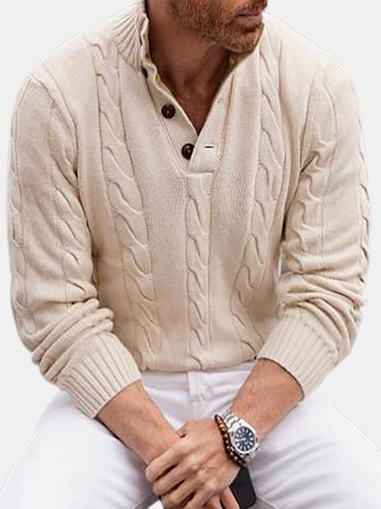 Mens Solid Color Stand CollarCable Knit Button Casual Fit Sweater
