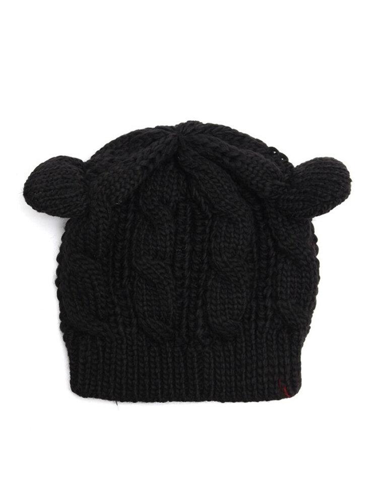 Cute Cat Ear Devil Slouch Beanie Hat Crochet Knitted  Braided Winter Warm Cap