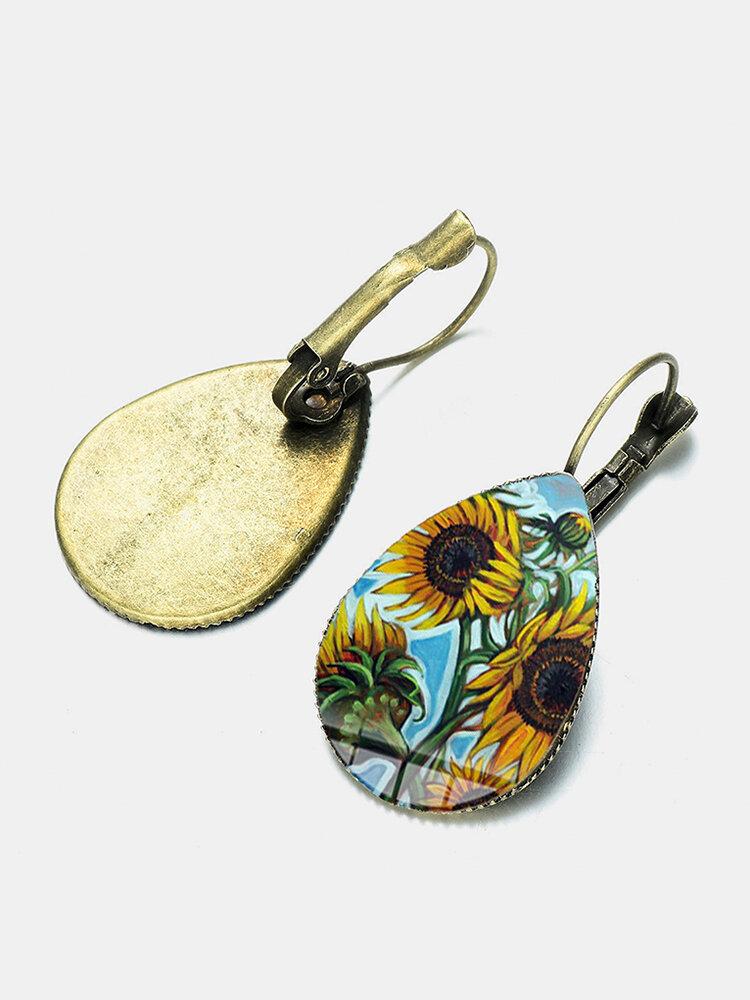 Bohemian Sun Flower Print Earrings Water Drop Shape Sunflower Gem Mount Ear Hook Women Jewelry Gifts