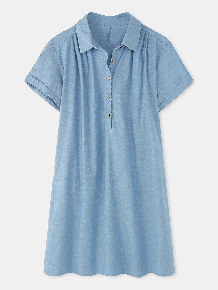 Solid Color Lapel Button Plus Size Casual Shirt Dress