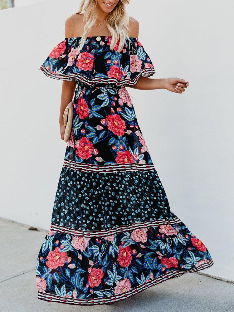 Print Floral Off Shoulder Two Layers Maxi Dress Plus Size Floral Dresses
