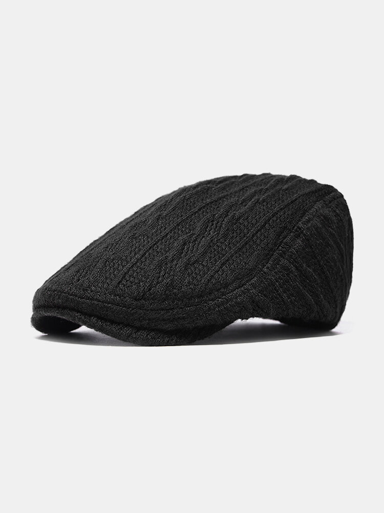 Men Thickening Adjustable Cotton Solid Warm Breathable Vintage Wool Knitting Beret Cap