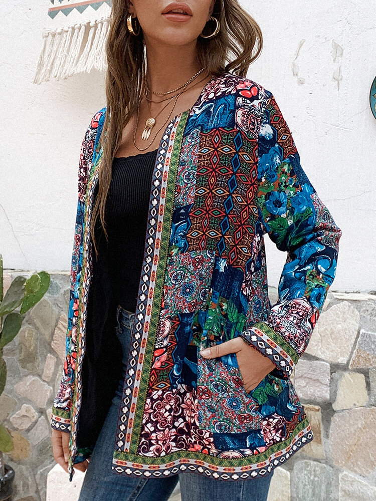 Vintage Webbing Patchwork Print Plus Size Jackets with Pockets