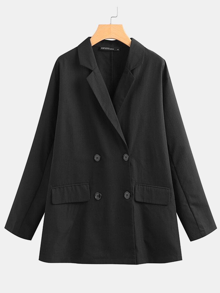 Frauen Vintage Einfarbig Revers Langarm Button Pocket Blazer