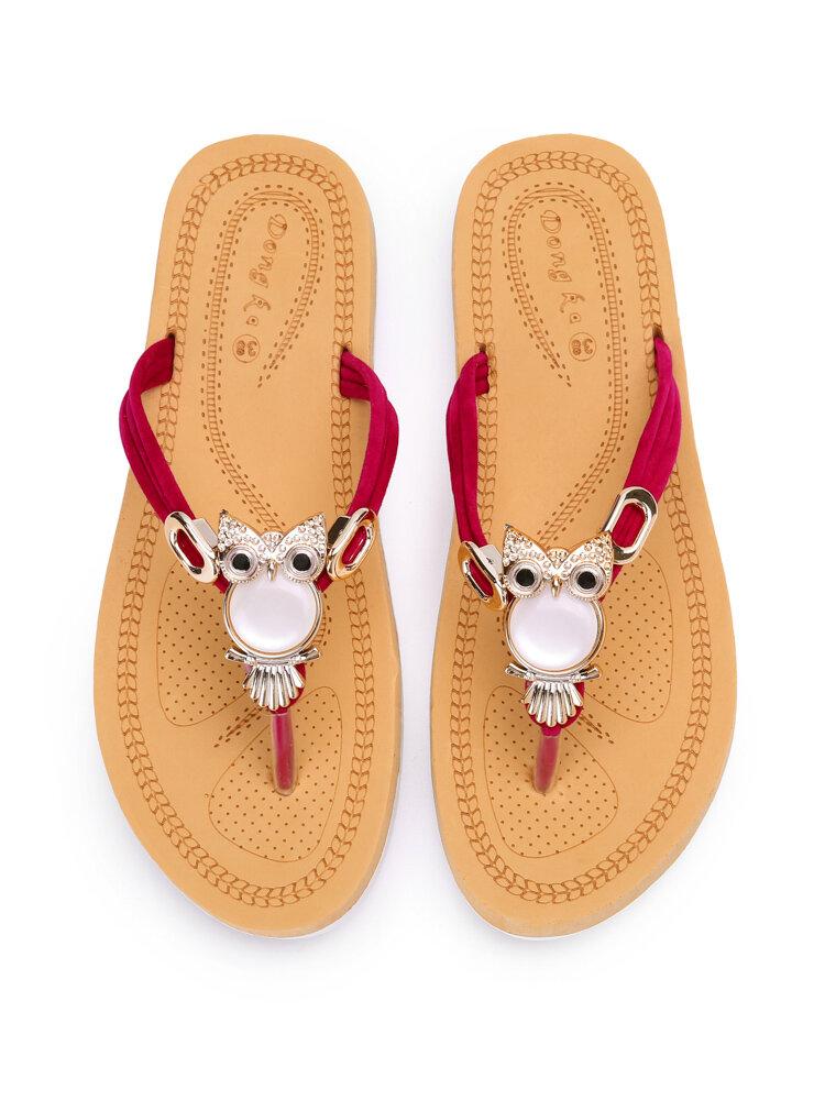 Pantofole infradito per vacanze casual con decorazione perline da donna